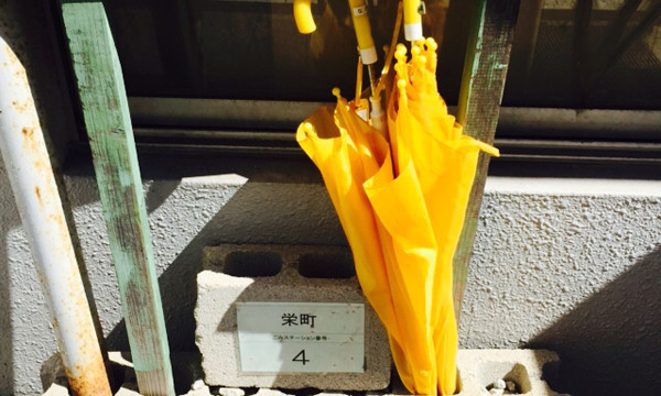 長崎のまちなかで見つけた黄色い傘